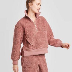 NEW Joy Lab Sherpa Dusty Rose Pink Sweatshirt XXL